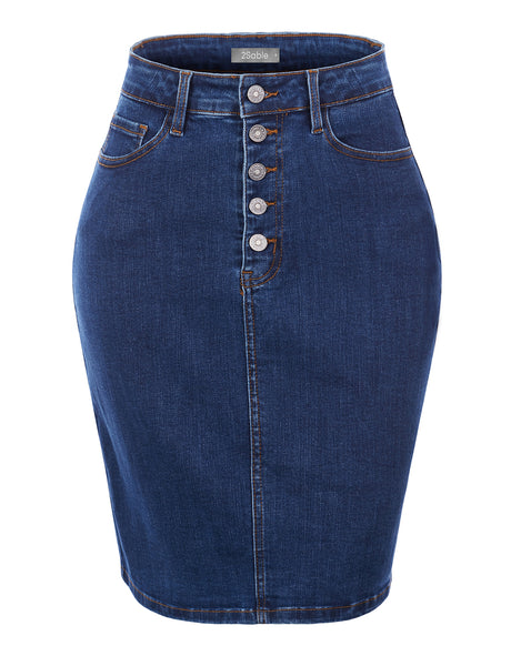 Womens Casual Stretchy High Waisted Button Up Denim Skirt with Pockets (WD4829)