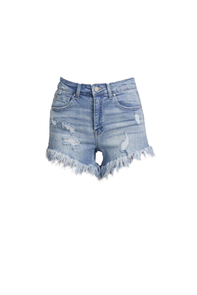 Womens Vintage Wash Mid Rise Frayed Hem Denim Shorts (WD4950)