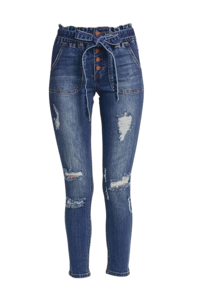 Womens High Rise Distressed Paper Bag Skinny Denim Jeans (WD4952)