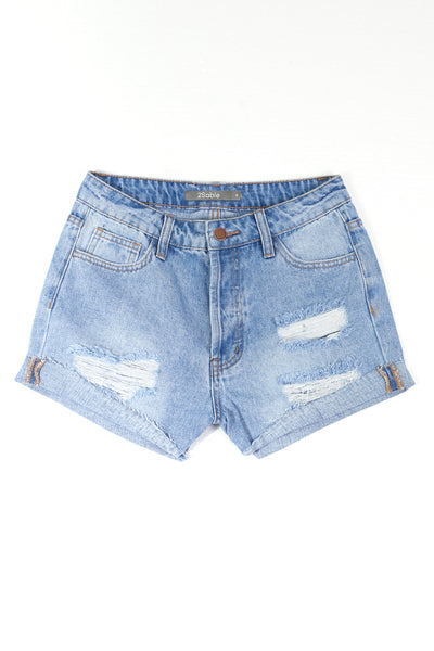 Womens Vintage Washed High Rise Ripped Frayed Denim Shorts (WD4971)