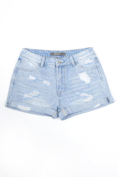 Womens Vintage High Rise Distressed Rolled Cuff Denim Shorts (WD4972)