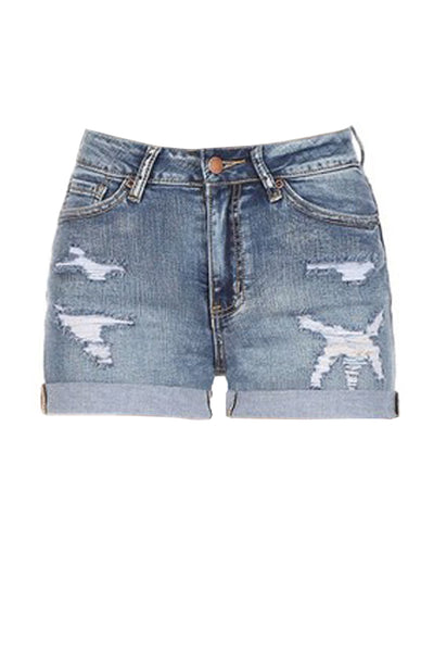 Womens Vintage Tencel Blend Distressed Rolled Cuff Denim Shorts (WD4981)
