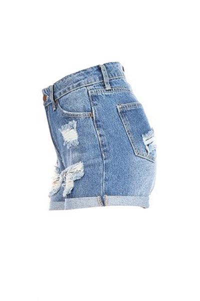 Womens Casual Distressed Ripped High Rise Denim Shorts with Rolled Cuffs (WD4983)
