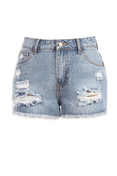 Womens Vintage Distressed High Rise Frayed Hem Denim Mom Shorts (WD4984)
