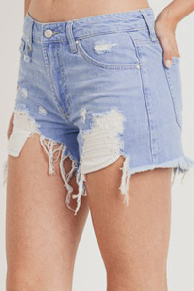 Women Vintage High Rise Front Distressed Ripped Raw Fray Hem Denim Shorts (WD4994)
