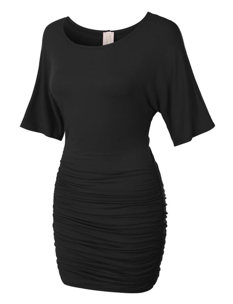 Womens Stretchy Batwing Sleeve Scoop Neck Ruched Bodycon Night Cocktail Dress (WDR1296)