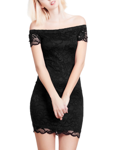 Womens Fitted Floral Lace Off Shoulder Bodycon Mini Dress (WDR3151)