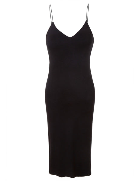 Womens Fitted Stretchy Sleeveless Bodycon Midi Slip Dress with High Slit (WDR3253)