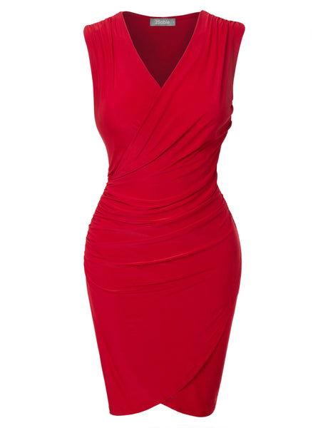 Womens Fitted V Neck Wrap Sleeveless Bodycon Midi Dress with Side Shirring (WDR3290)
