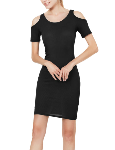 Womens Ribbed Short Sleeve Cut Out Shoulder Bodycon Midi Dress (WDR3341)