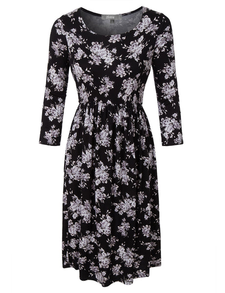 Womens Casual Flared 3/4 Sleeve Floral Print Midi Dress (WDR3377)