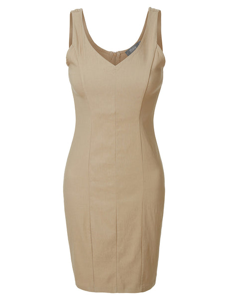 Womens Fitted Sleeveless V Neck Bodycon Dress (WDR3432)