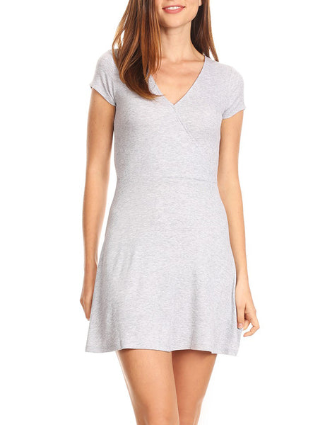 Womens Stretchy Ribbed Cap Sleeve V Neck Skater Dress (WDR3562)