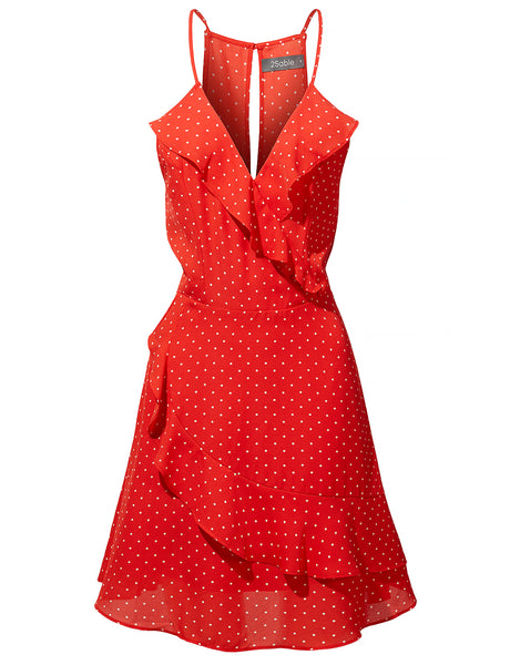 Womens Polka Dot Print V Neck Ruffled Summer Dress (WDR4005)