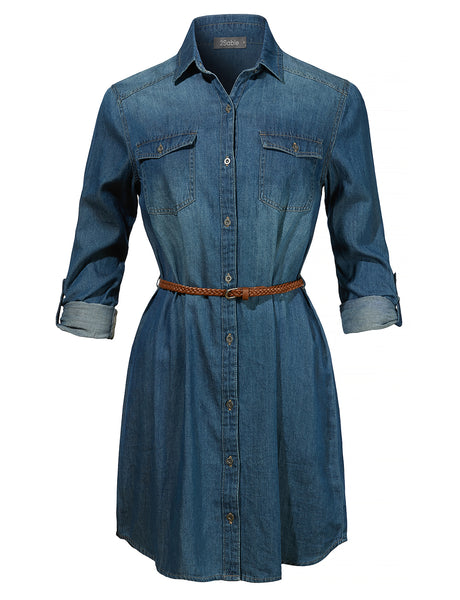 Womens Long Sleeve Chambray Button Up Denim Shirt Dress with Faux Leather Belt (WDR4054)