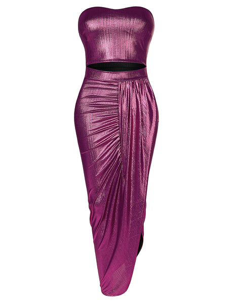 Womens Sexy Party Cocktail Metallic Strapless Cut Out Stretchy Maxi Midi Dress (WDR4284)
