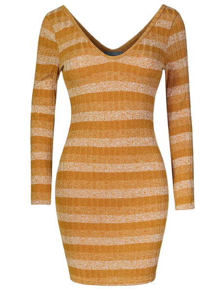 Womens Fitted Striped Long Sleeve V Neck Stretchy Ribbed Knit Tunic Dress (WDR4292)