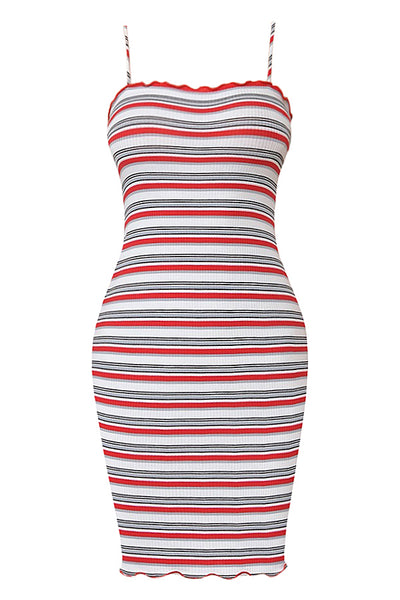 Womens Multi Stripe Lettuce Edge Camisole Mini Bodycon Dress (WDR4451)