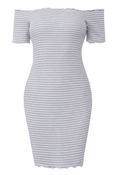 Womens Striped Lettuce Edge Off The Shoulder Mini Bodycon Dress (WDR4485)