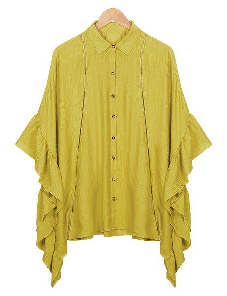 Womens Causal Oversized  Flowy Ruffle Sleeve Button Down Tunic Shirt Dress (WDR4633)