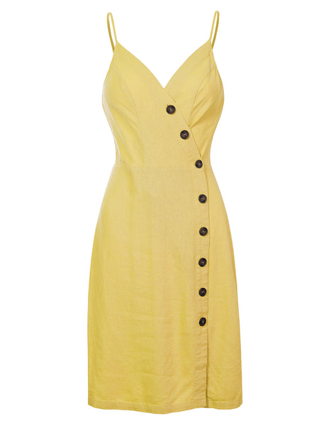 Womens Summer V Neck Button Down Sleeveless Short Dress with Adjustable Straps (WDR4646)