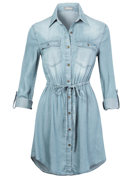 Womens Long Sleeve Button Up Tencel Denim Shirt Dress with Adjustable Drawstring (WDR4653)