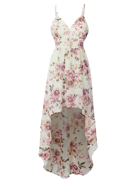 Womens All Over Floral Print Smocked Back Hi Low Sleeveless Chiffon Maxi Dress (WDR4725)