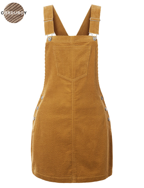 Womens Lightweight Corduroy Overall Dress with Adjustable straps (WDR4810)