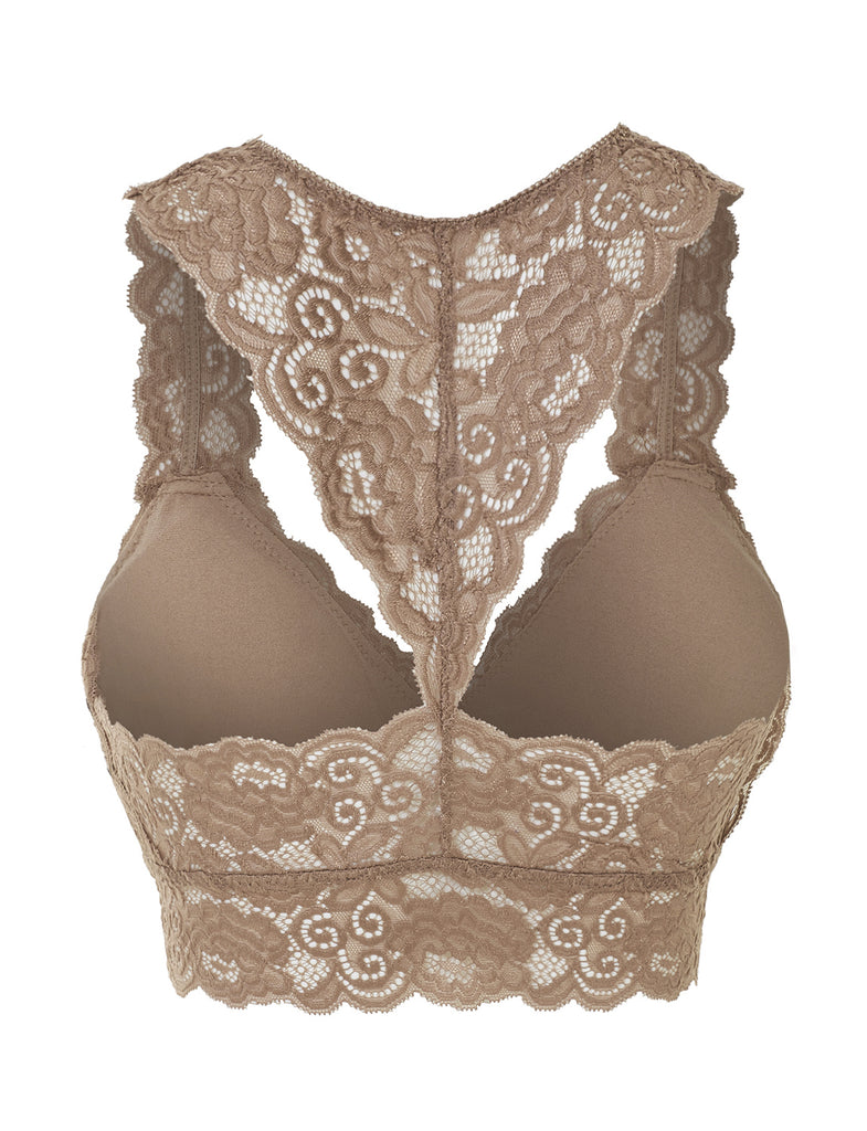b76abf69b41da LE3NO Womens Stretchy Sexy Floral Lace Racerback Bralette Top (WIL3781)