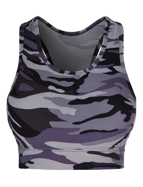 Womens Active Camo Print Tank Top With Removable Bra Pads (WIL4416)