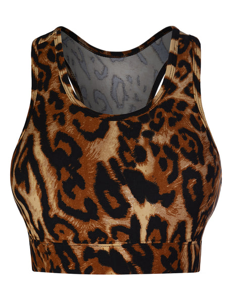Womens Active Racerback Leopard Print Sports Bra Top (WIL4430)