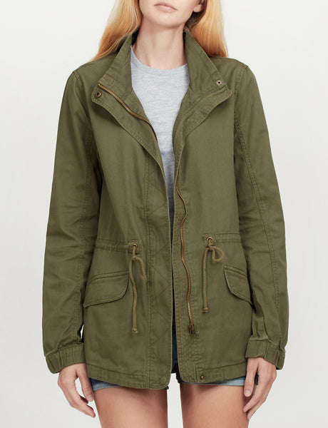 Womens Military Anorak Jacket with Drawstring Waist (WJC1713)