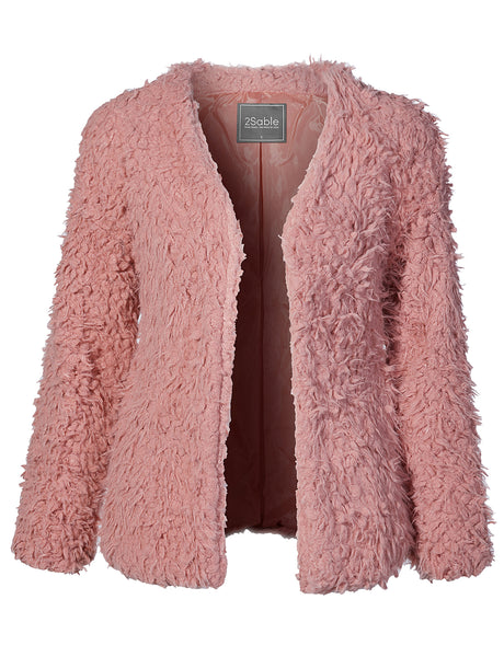 Womens Oversized Long Sleeve Faux Fur Coat with Pockets (WJC2093)