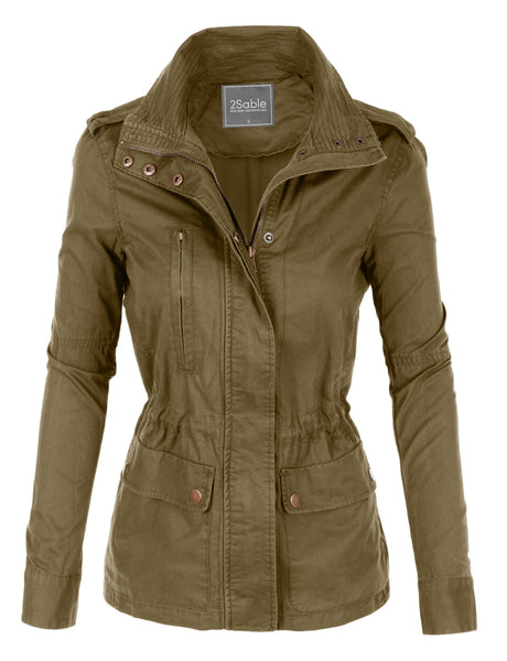 Womens Plus Size Stand Collar Safari Anorak Jacket with Pockets (WJC2098P)