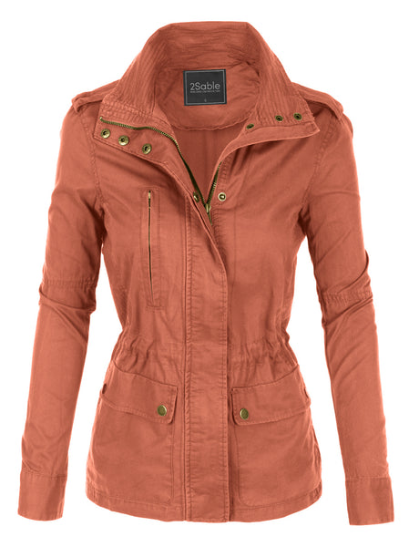 Womens Stand Collar Safari Anorak Jacket with Pockets (WJC2098)