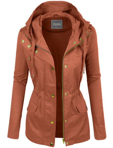 Womens Lightweight Cotton Military Anorak Jacket with  Hoodie (WJC2165)