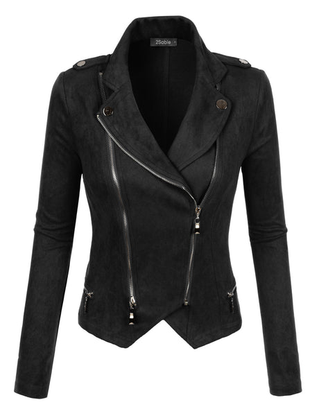 Womens Suede Long Sleeve Zip Up Cropped Blazer Jacket (WJC2168)