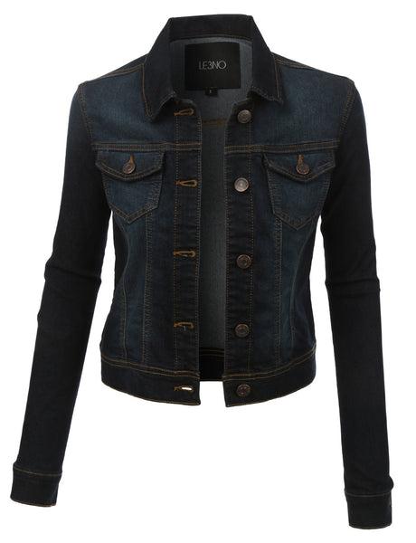 Womens Plus Size Classic Long Sleeve Denim Jean Jacket with Pockets (WJC2549P)