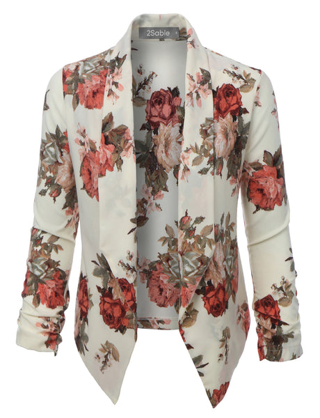 Womens Floral 3/4 Sleeve Open Front Blazer (WJC2754)