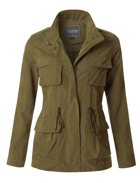 Womens Lightweight Stand Collar Utility Safari Military Jacket (WJC2917)