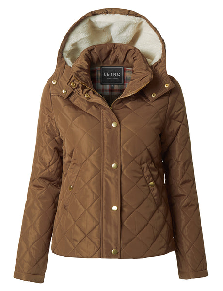 Womens Quilted Long Sleeve Puffer Jacket with Faux Fur Hoodie (WJC2958)