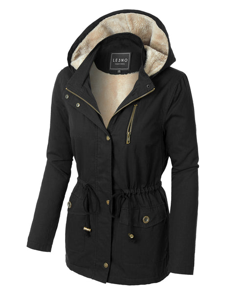 Womens Faux Fur Anorak Military Jacket with Pockets (WJC3042P)