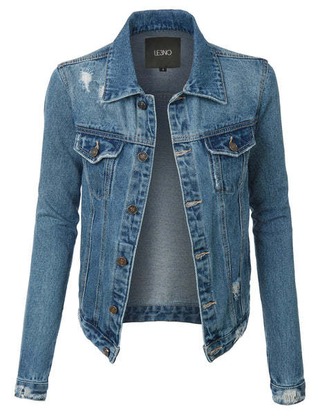 Womens Vintage Long Sleeve Distressed Ripped Denim Jacket with Pockets (WJC3165)