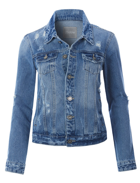 Womens Oversized Long Sleeve Distressed Boyfriend Denim Jacket with Pockets (WJC3168)