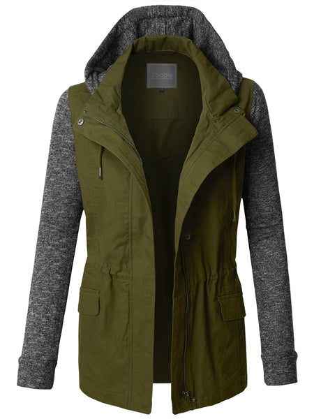 Womens Lightweight Military Anorak Jacket with Detachable Fleece Hoodie (WJC3479)