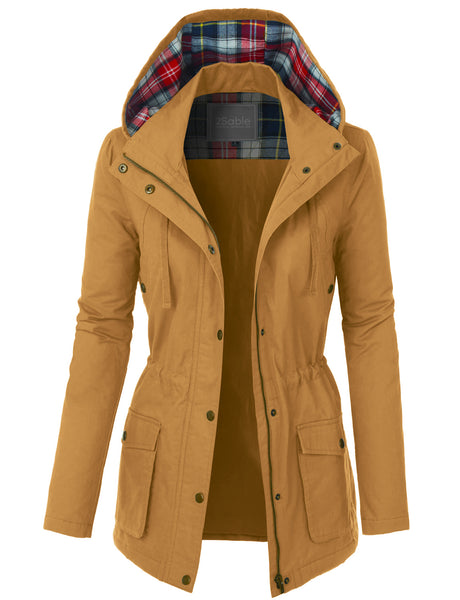 Womens Fully Lined Anorak Parka Military Jacket with Plaid Hoodie (WJC3509)