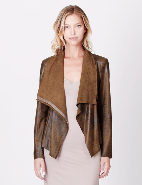 Womens Lightweight Faux Suede Draped Front Zip Up Jacket (WJC3536)