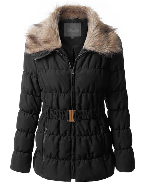 Womens Quilted Puffer Zip Up Belted Jacket Coat with Faux Fur Collar (WJC3537)