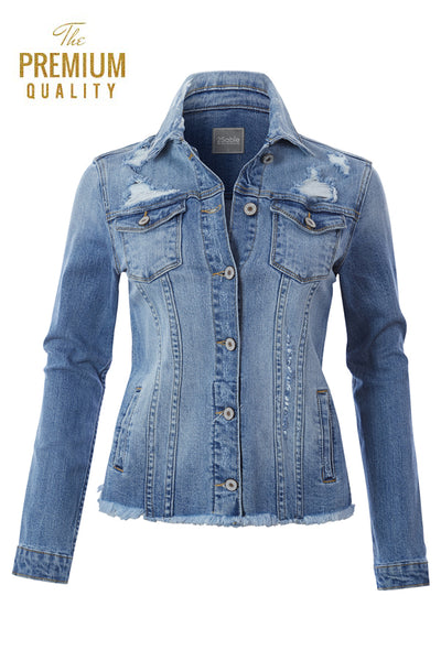 Womens Vintage Oversized Frayed Hem Boyfriend Denim Jean Jacket (WJC3552)