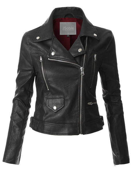 Womens Faux Leather Fully Lined Long Sleeve Moto Biker Jacket (WJC3578)